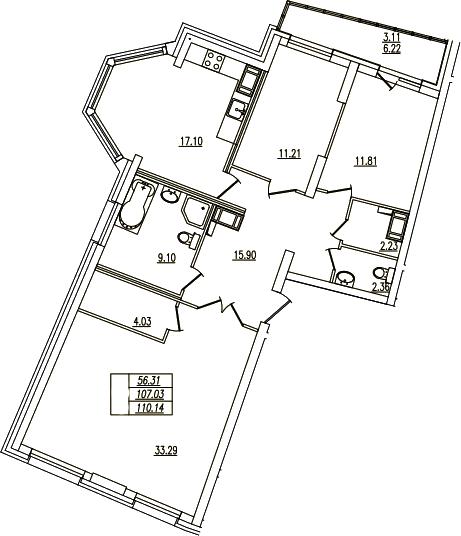4Е-комнатная, 110.14 м²– 2