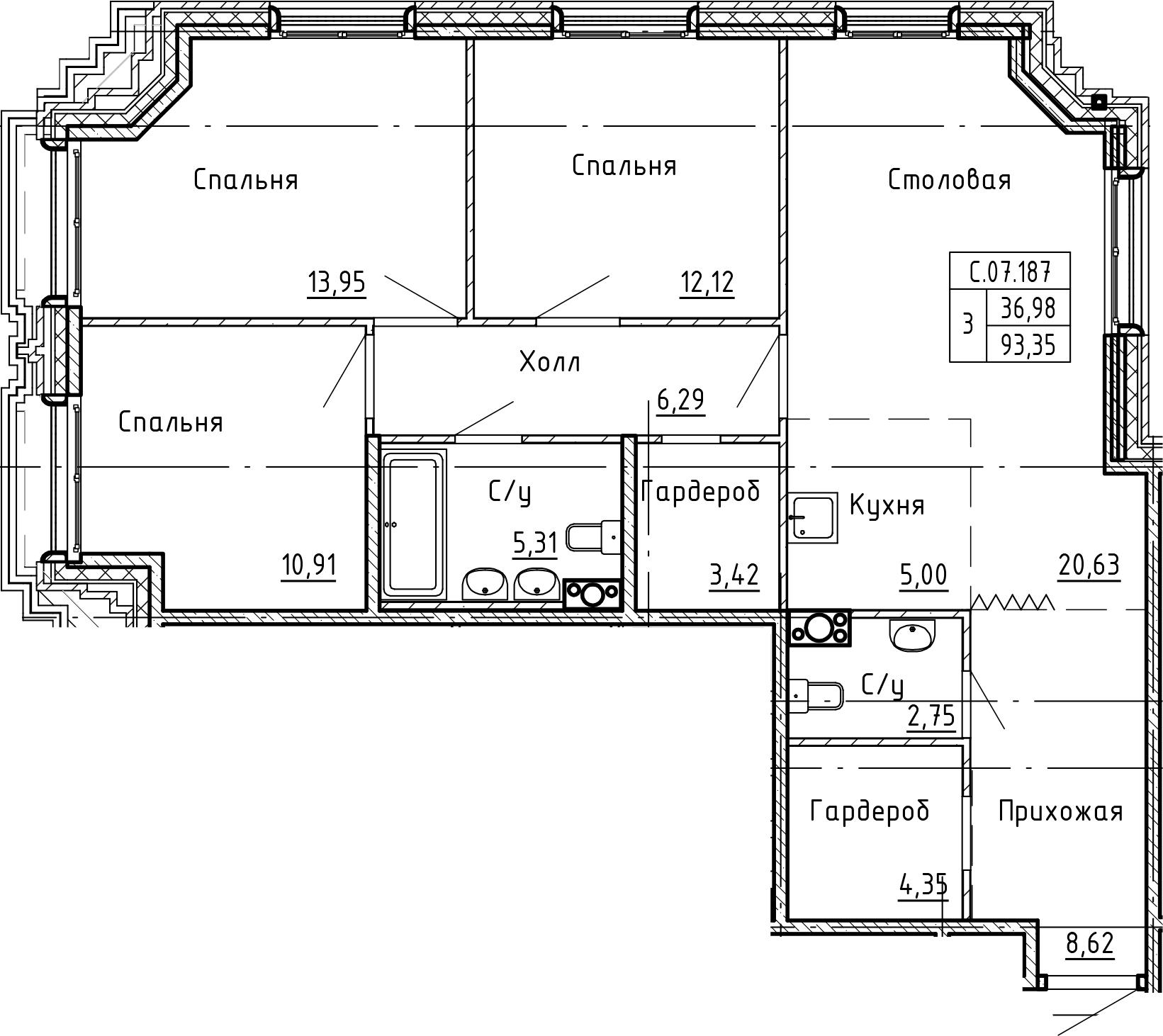 4Е-комнатная, 93.35 м²– 2