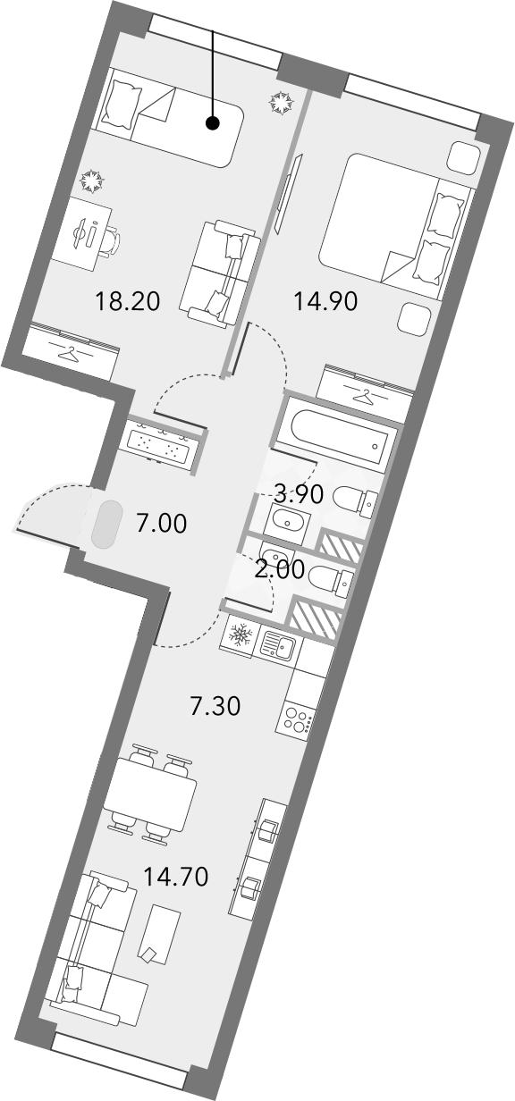 3Е-комнатная, 68 м²– 2