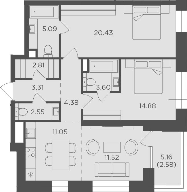 3Е-к.кв, 82.2 м², 12 этаж