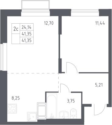 2Е-комнатная, 41.35 м²– 2