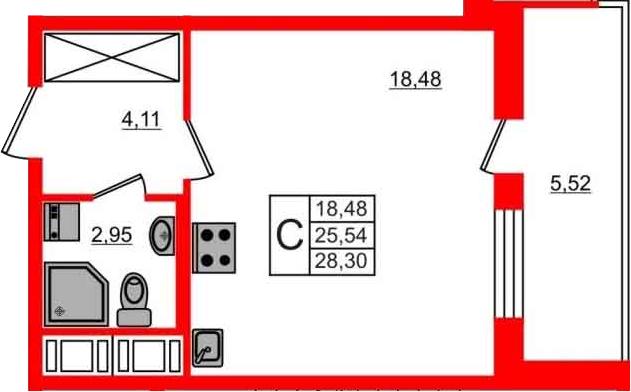 Студия, 25.54 м²– 2