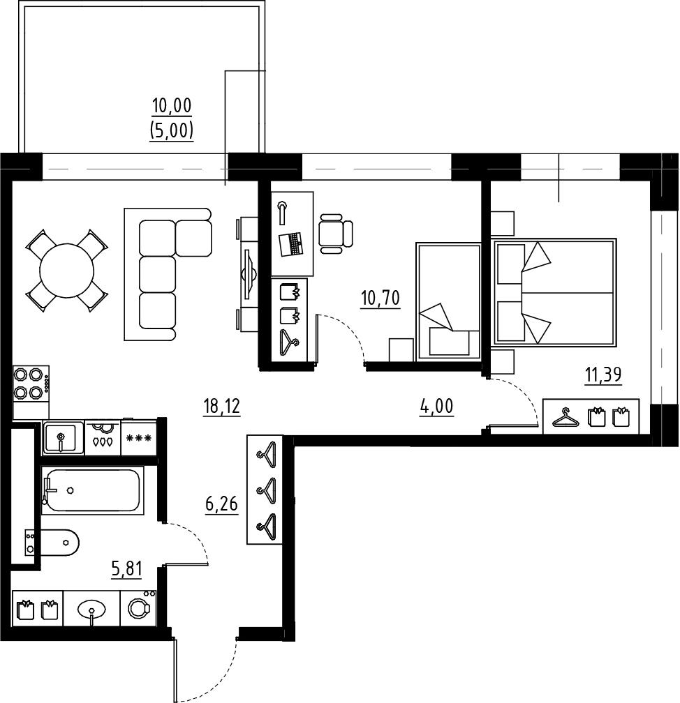 3Е-к.кв, 56.28 м², 1 этаж