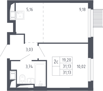 2Е-к.кв, 31.13 м², 13 этаж