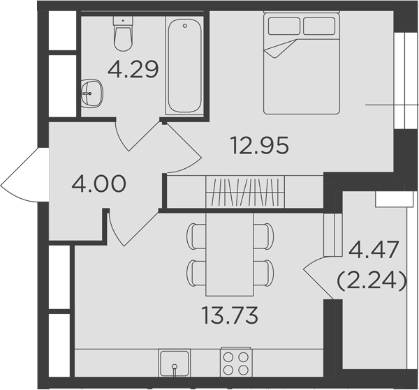 1-комнатная, 37.21 м²– 2