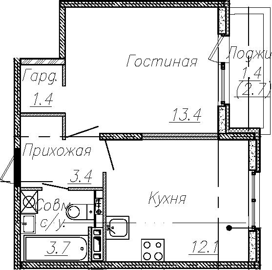 1-к.кв, 34 м², 2 этаж
