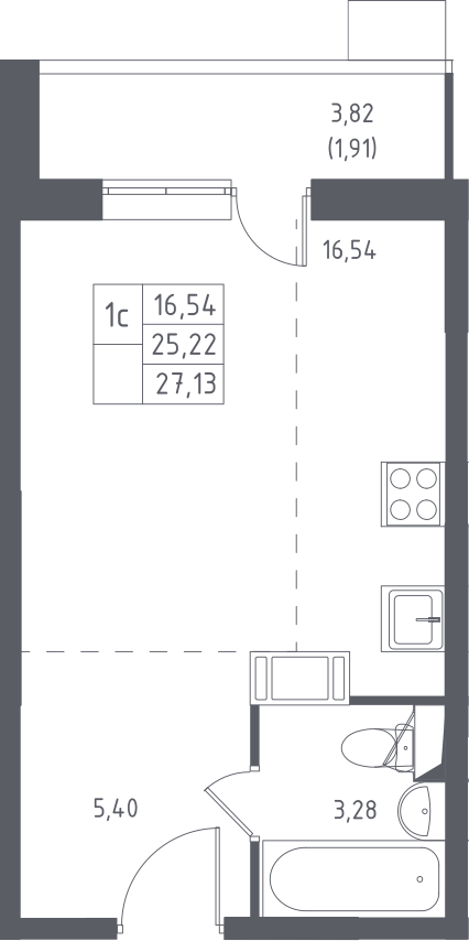 Студия, 29.04 м²