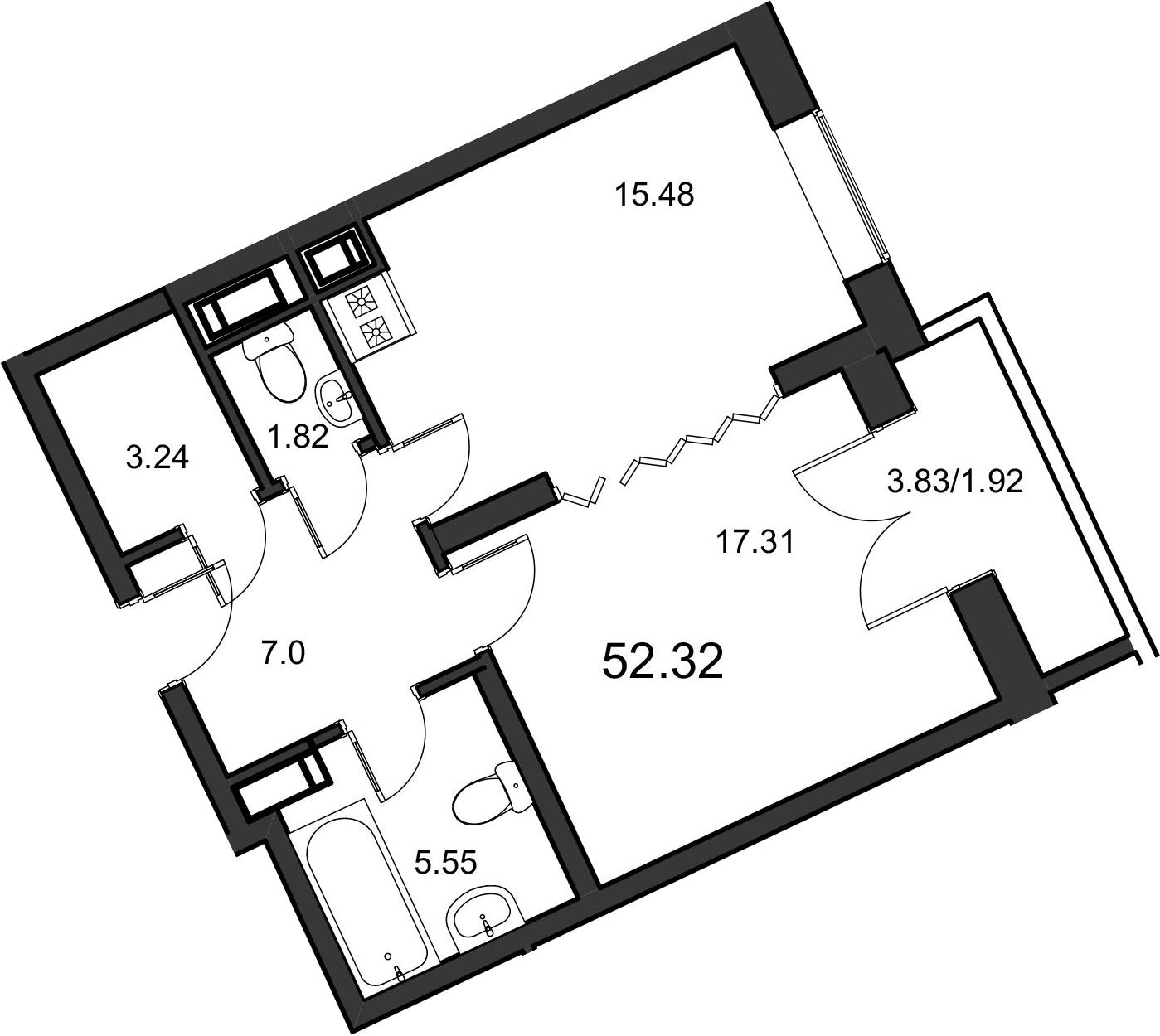 1-к.кв, 52.32 м²
