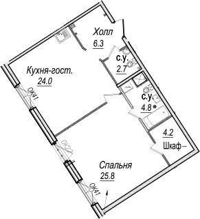 2-к.кв (евро), 67.8 м²