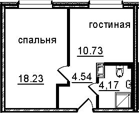 1-к.кв, 37.67 м², от 6 этажа