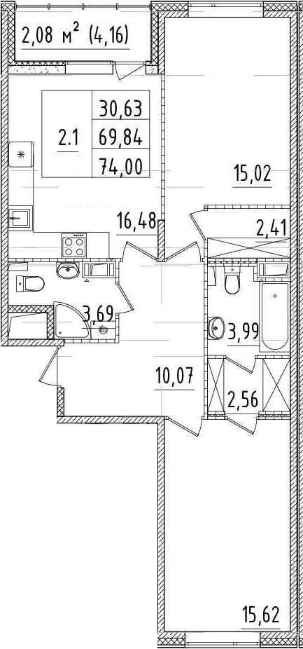 3Е-комнатная, 69.84 м²– 2