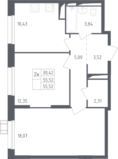 2-к.кв, 55.52 м²