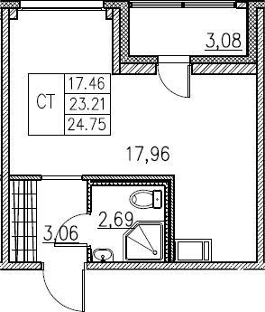 Студия, 24.75 м²– 2