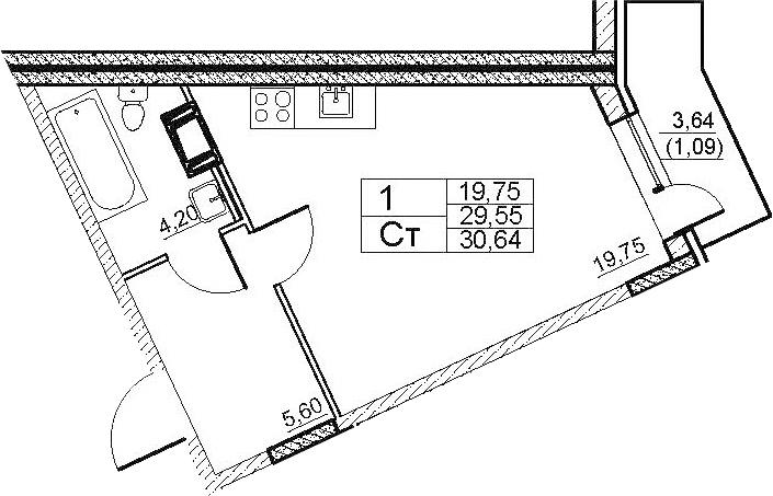 Студия, 33.18 м²