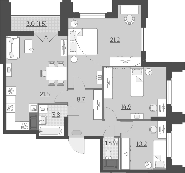 4Е-комнатная, 83.4 м²– 2