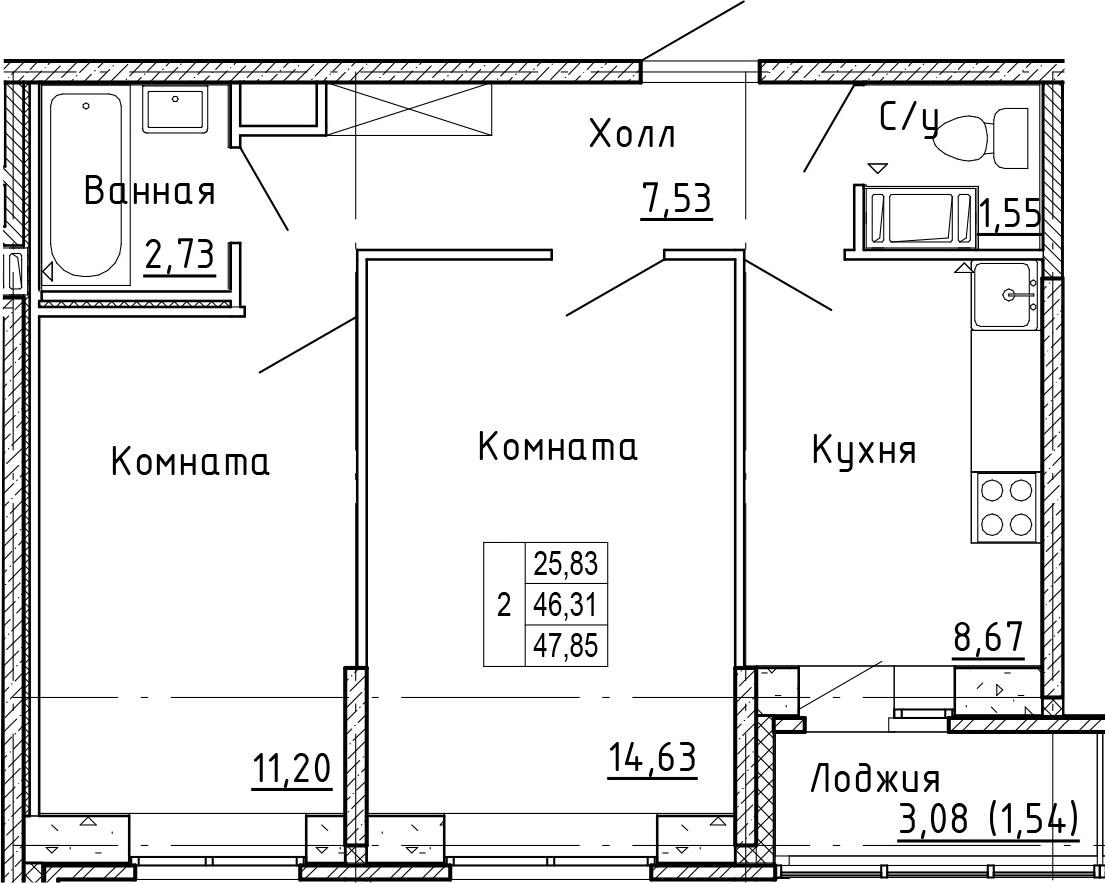 2-к.кв, 49.39 м²