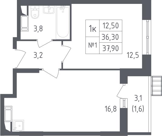 2-к.кв (евро), 39.5 м²