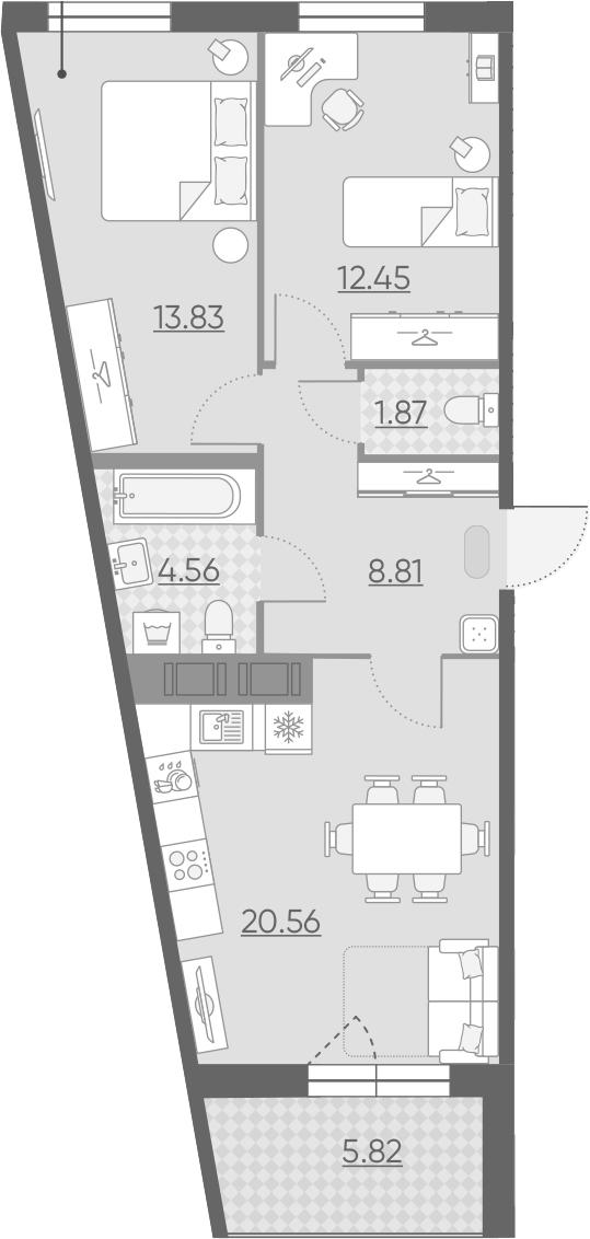3Е-комнатная, 64.99 м²– 2
