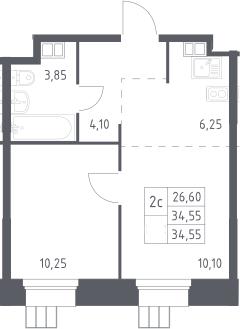 2Е-к.кв, 34.55 м²