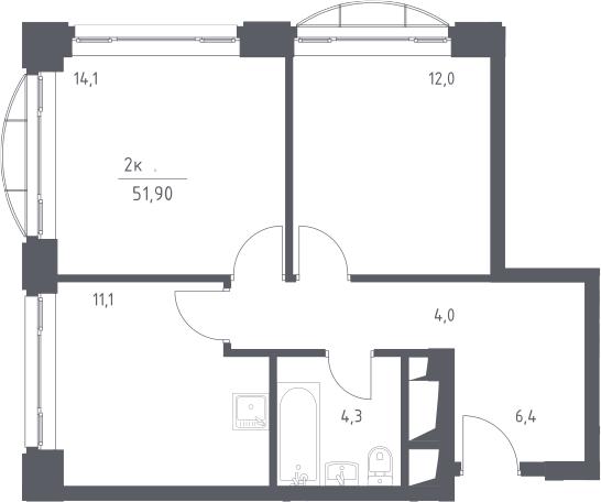 2-к.кв, 51.9 м², 11 этаж