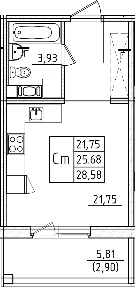 Студия, 28.58 м²– 2
