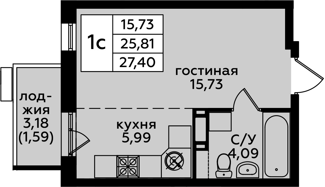 Студия, 28.99 м²