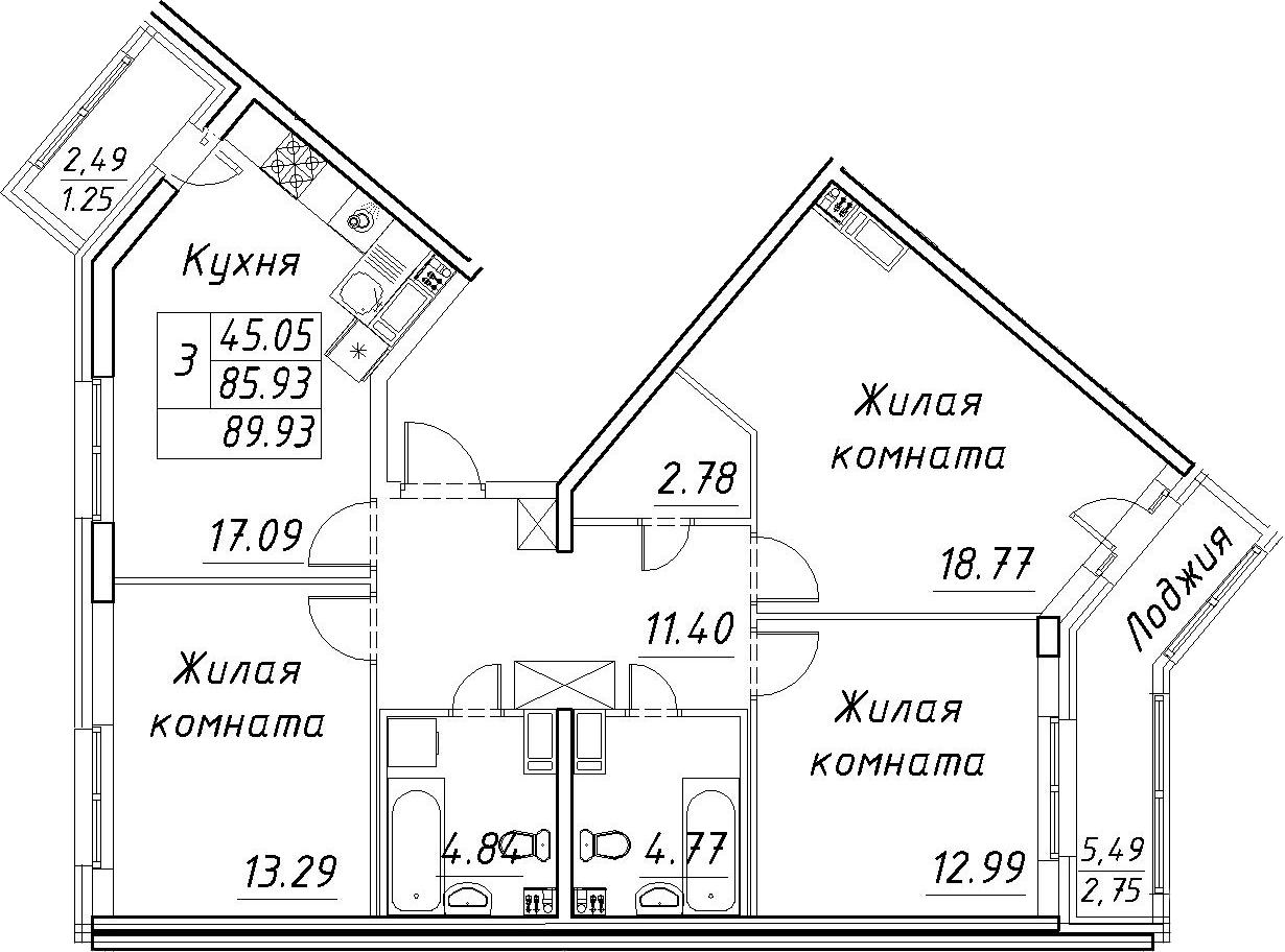 4Е-к.кв, 89.93 м², 12 этаж