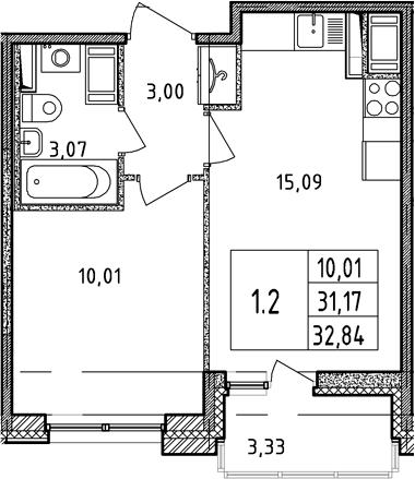 2Е-комнатная, 31.17 м²– 2