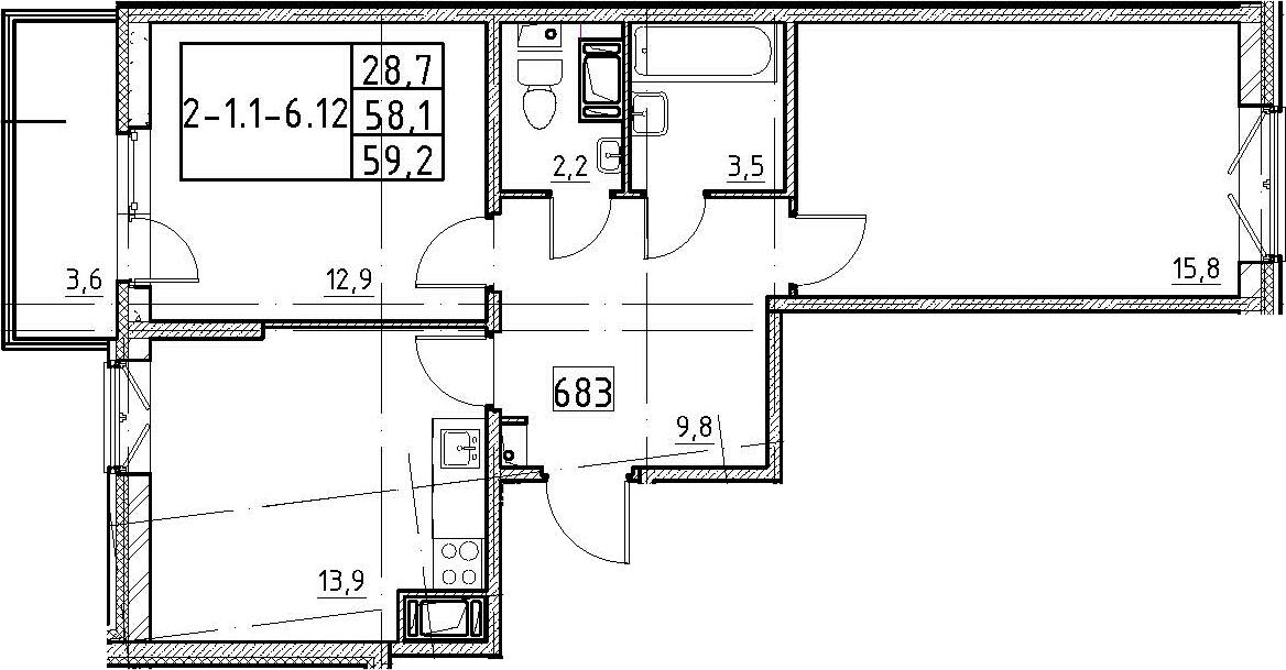 2-к.кв, 59.2 м², 8 этаж