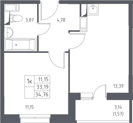 1-комнатная, 34.76 м²– 2