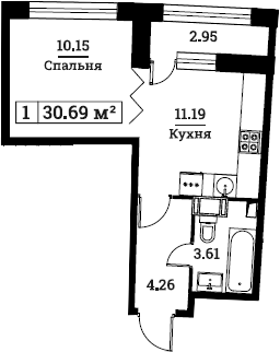 1-к.кв, 30.69 м², от 3 этажа