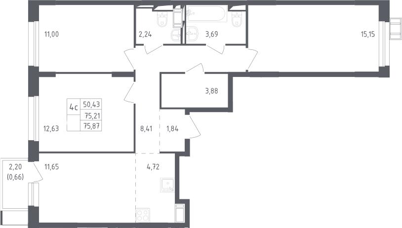 4Е-к.кв, 75.87 м², 6 этаж