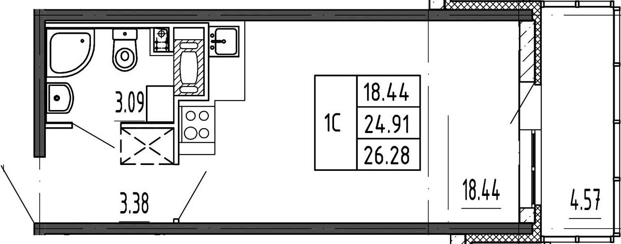 Студия, 24.91 м²