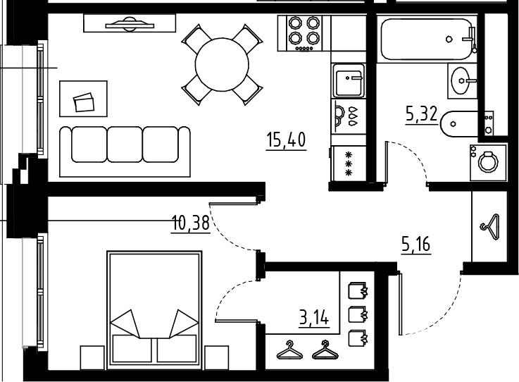 2Е-к.кв, 39.4 м², от 2 этажа