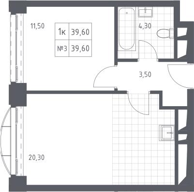 2-к.кв (евро), 39.6 м²
