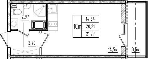 Студия, 20.21 м², 2 этаж