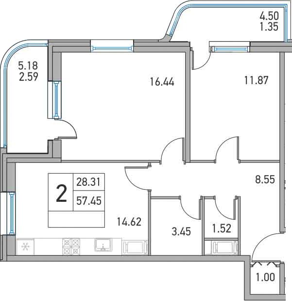 2-к.кв, 67.13 м²