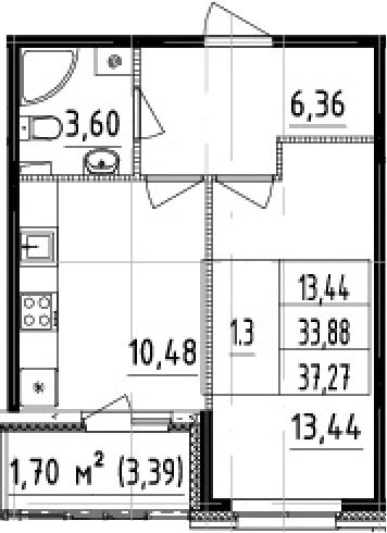 1-к.кв, 37.27 м²