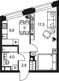 1-к.кв, 33.9 м²