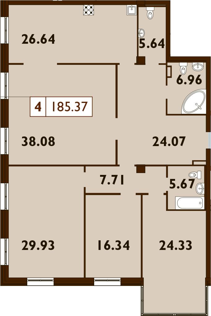 5Е-к.кв, 189.42 м²