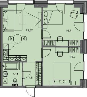 3Е-к.кв, 66.39 м²