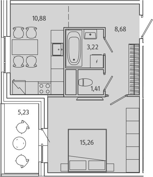 1-к.кв, 44.68 м²