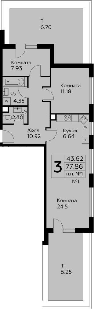 3Е-комнатная, 77.86 м²– 2