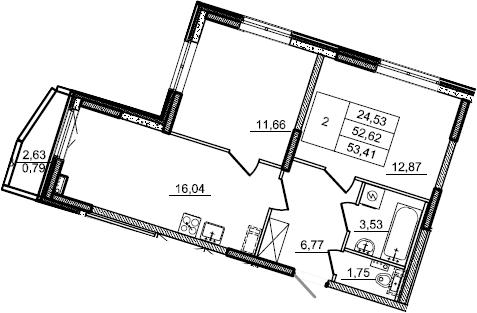 3Е-к.кв, 53.41 м²