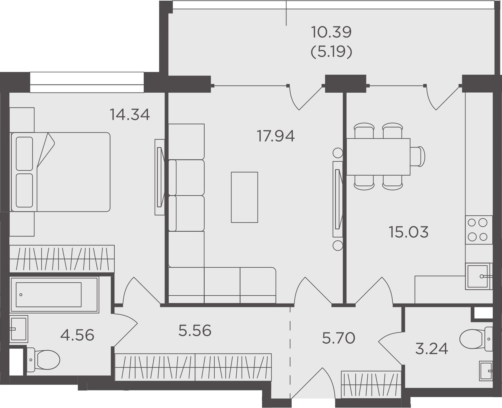 2-комнатная, 71.56 м²– 2