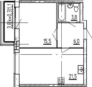 2Е-к.кв, 47.9 м²