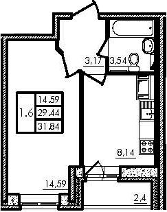 1-к.кв, 29.34 м², 14 этаж