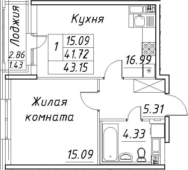 2-к.кв (евро), 44.58 м²