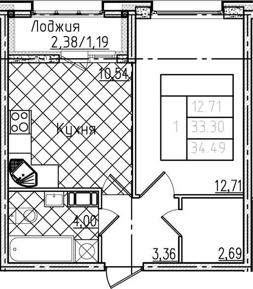 1-к.кв, 34.49 м²