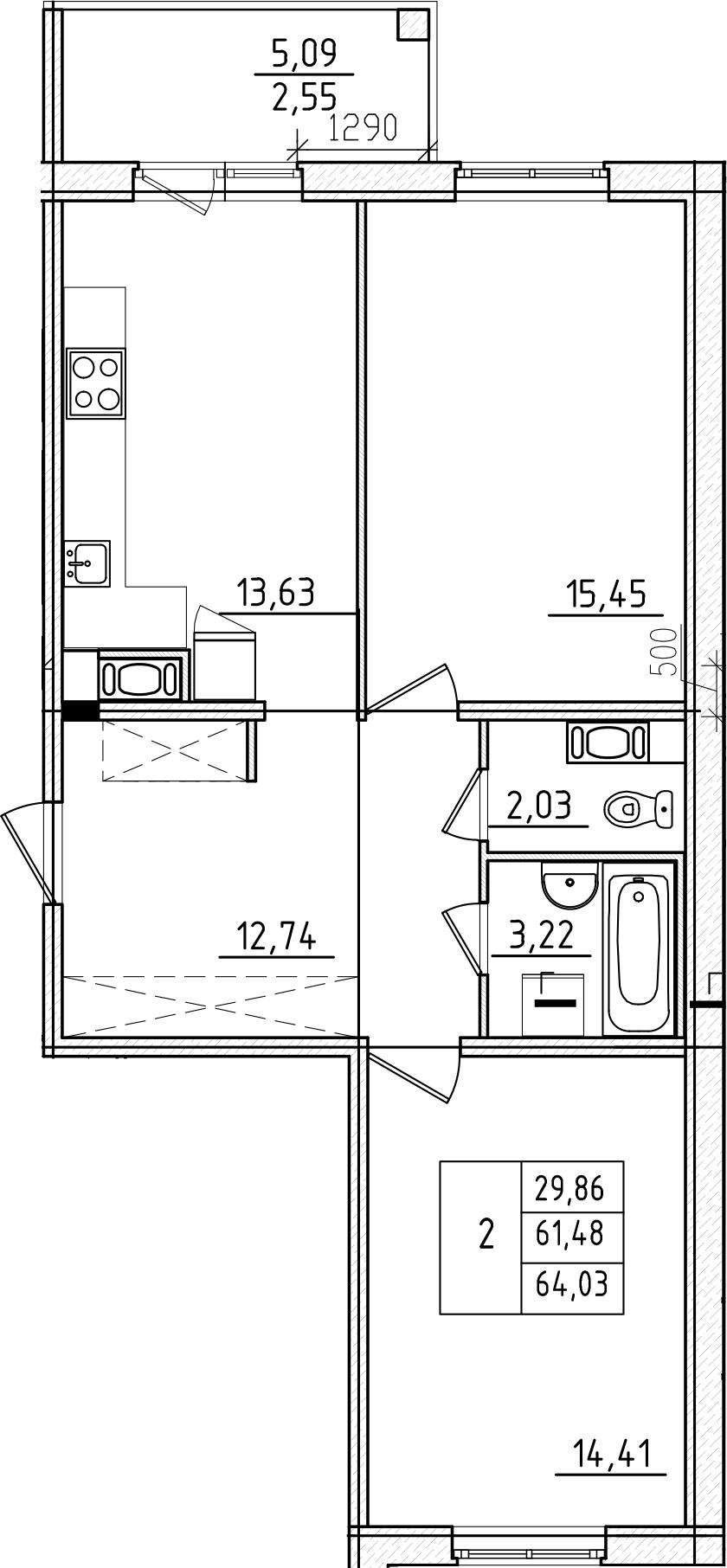 2-к.кв, 64.03 м², 7 этаж